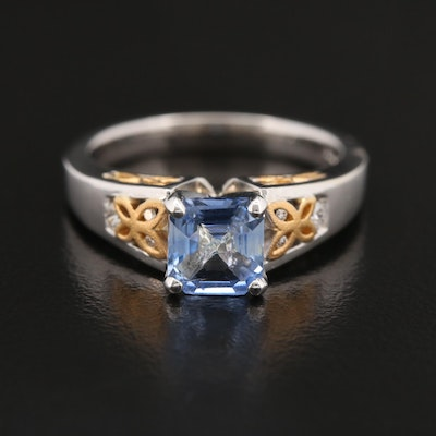 14K Violet Sapphire and Diamond Ring with 22K Accents