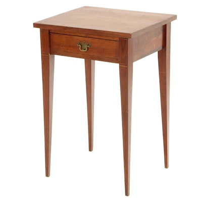 Federal Style Walnut and Line-Inlaid Side Table, 20th Century