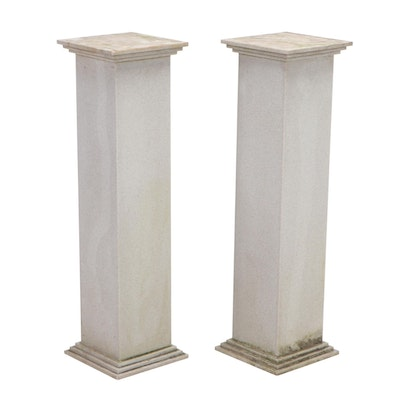 Pair of Faux Stone Composite Display Pedestals
