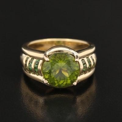 18K Peridot and Tsavorite Ring