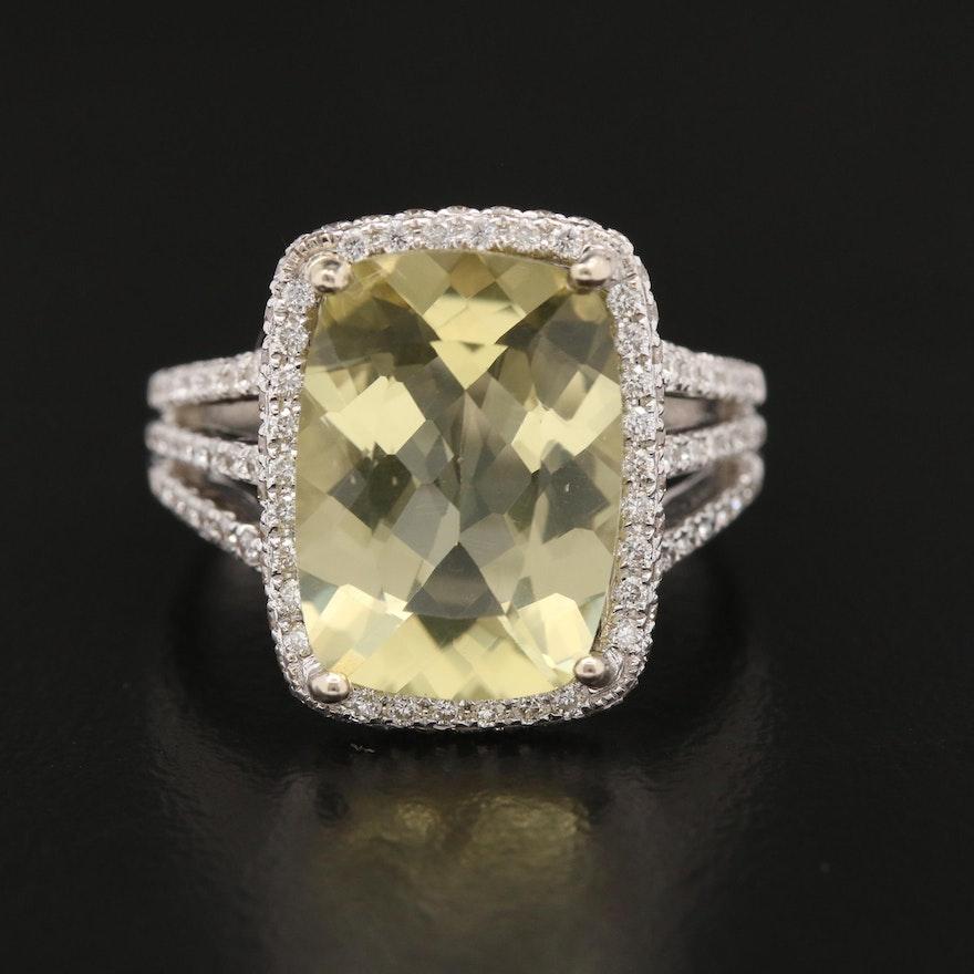 18K Gold Lemon Quartz and 1.05 CTW Diamond Ring