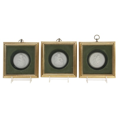 Framed Bisque Cupid Medallions, Vintage