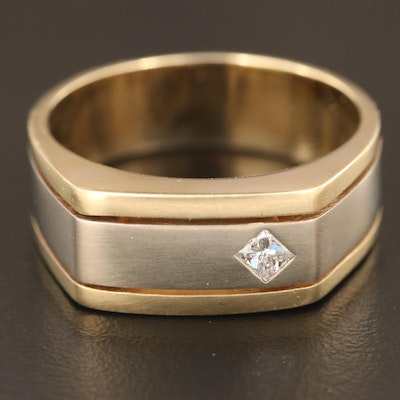 14K Two-Tone Band with Diamond Accent