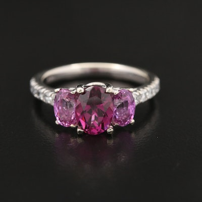 14K Garnet, Pink Sapphire, and Diamond Ring
