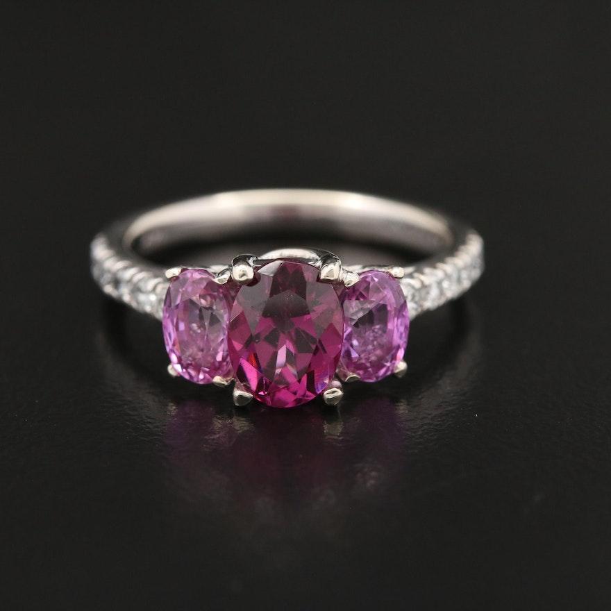 14K Garnet, Pink Sapphire, and Diamond Ring