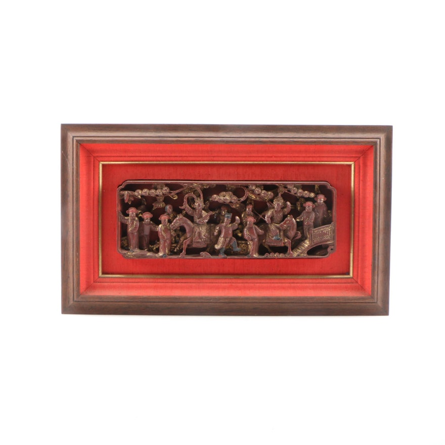 Chinese Lacquered and Parcel Gilt Carving Panel