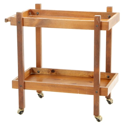 Stained Pine Tiered Tea Cart, Mid-20th Century
