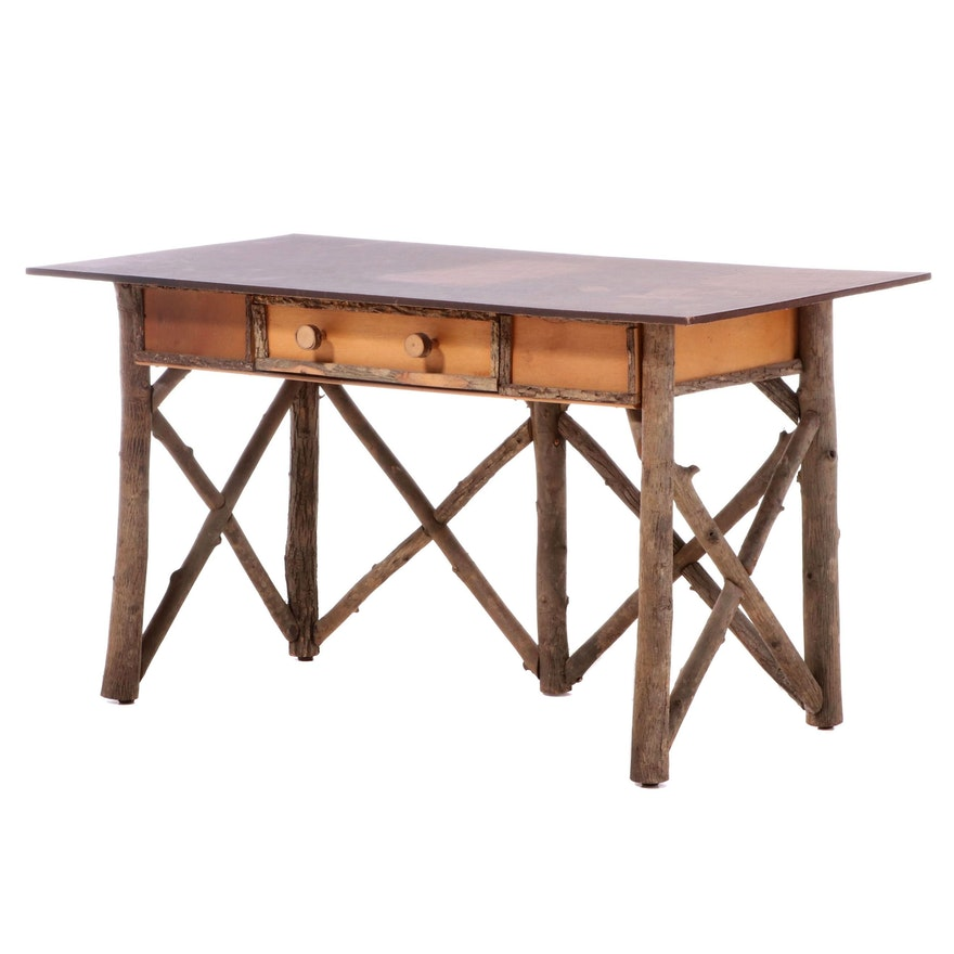 Adirondack Style Branch-and-Twig Writing Table with Faux-Leather Top