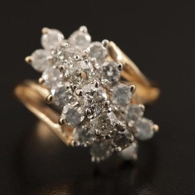 14K 1.70 CTW Diamond Waterfall Ring