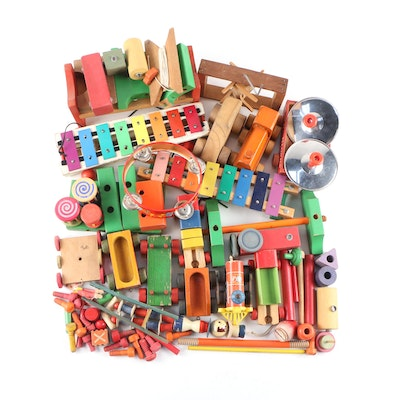 Children's Wooden Toys Including Building Bocks, Trains and Instruments
