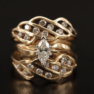 14K 1.12 Diamond Openwork Ring