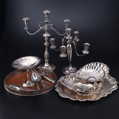 "Gorham ""Greek Kylix"" Silver Plate Bowl with Other Candelabras and Serveware"