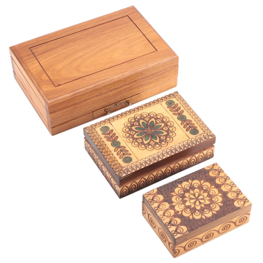Alhambra Humidor with Other Pyrography Decorated Cigar Boxes