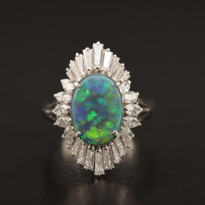 Platinum 1.64 CT Black Opal and 1.25 CTW Diamond Ballerina Ring
