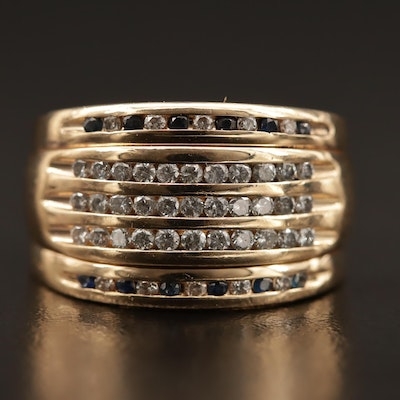 14K Channel Set Diamond and Sapphire Tapered Band