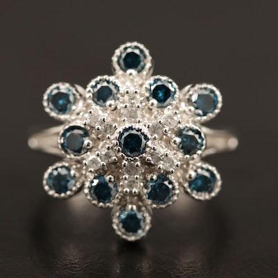 14K Blue Diamond and Diamond Cluster Ring