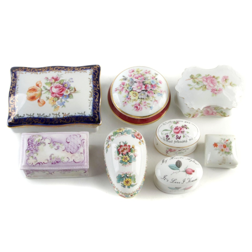 German Martinroda Hand-Painted Porcelain Box and Other Trinket Boxes