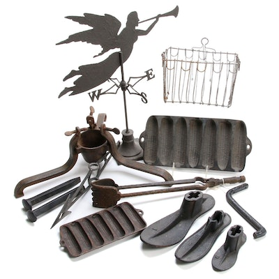 Cast Iron Cobbler Shoe Molds, Tongs and Assorted Cast Iron Pieces