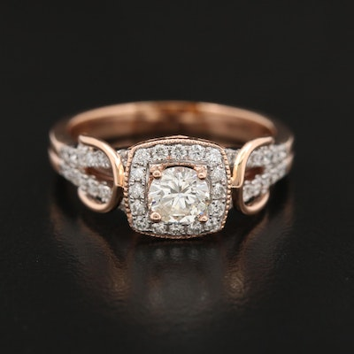 14K Rose Gold 1.04 CTW Diamond Halo Ring