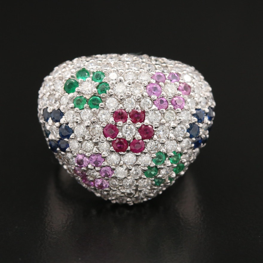 18K Gold 2.15 CTW Diamond, Ruby, Emerald, Sapphire and Pink Sapphire Ring