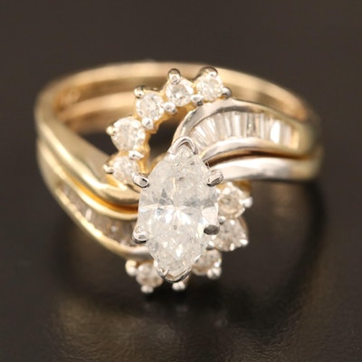 14K 1.99 CTW Diamond Ring and Band Fitted Set
