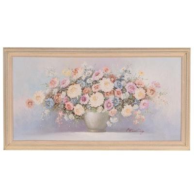 P. Keeling Impasto Floral Still Life Oil Painting