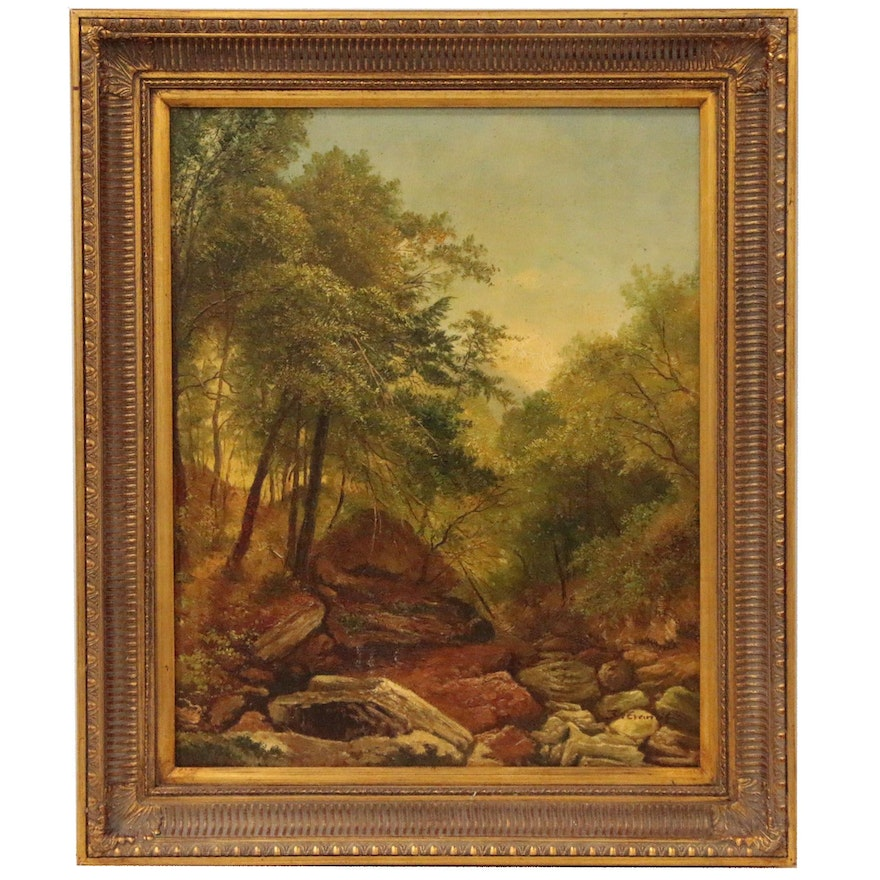 Landscape Oil Painting of Woodland Scene, Mid 20th Century