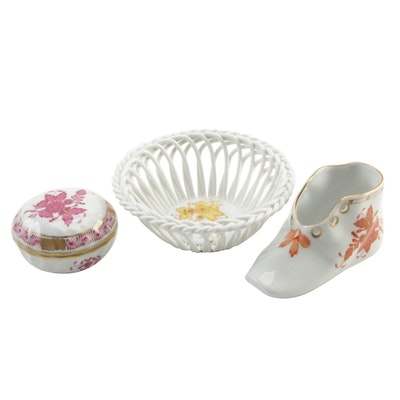 "Herend ""Chinese Bouquet"" Porcelain Trinket Box, Baby Shoe and Basket"