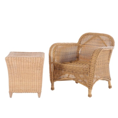Synthetic and Woven Wicker Armchair and End Table, Late 20th Century