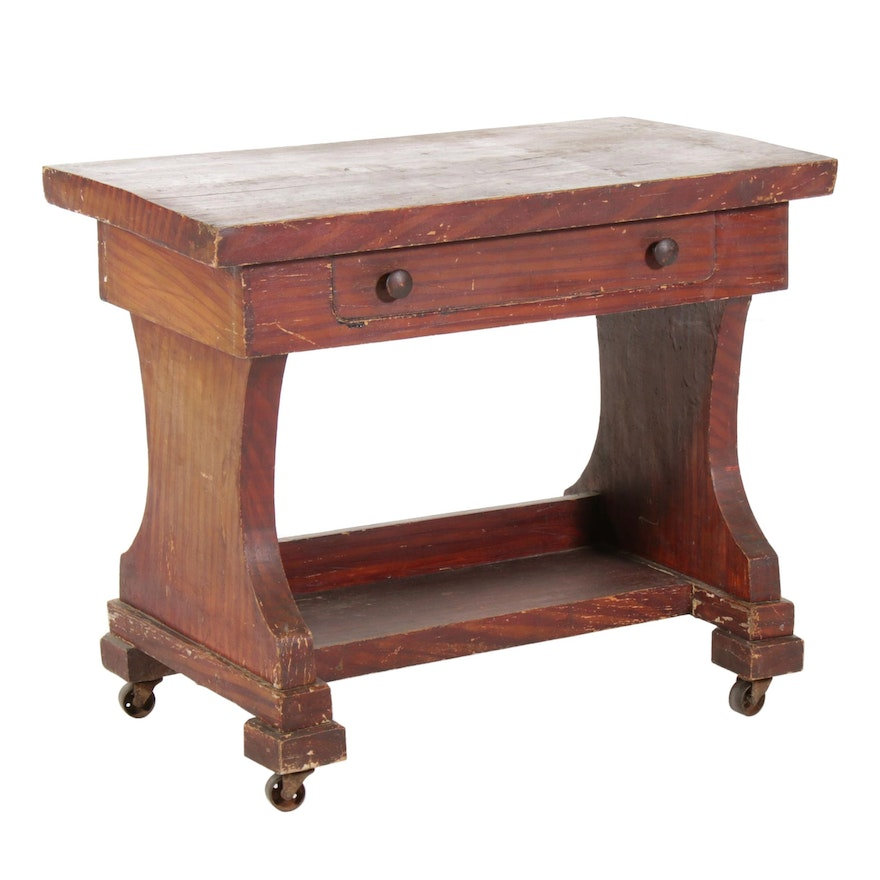 Grain Painted Small Tiered Library Table with Removable Top, 19th Century
