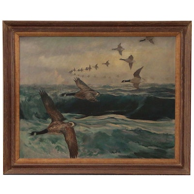 William Goadby Lawrence Seascape Oil Painting with Geese in Flight