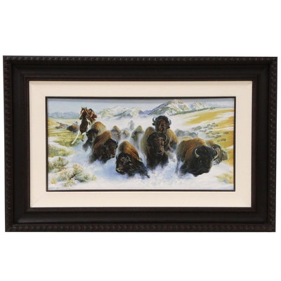 Kirk Stirnweis Embellished Offset Lithograph of Native American Buffalo Hunt