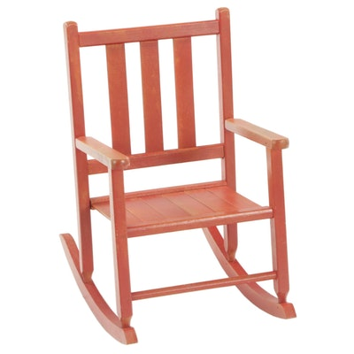 Child's Wooden Doll Rocking Chair with Red Wash, Mid-20th Century