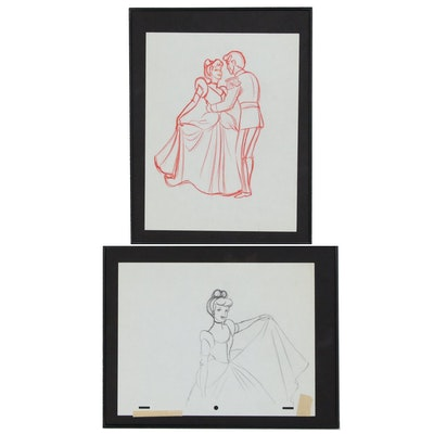 Pencil Sketches of Cinderella and Prince