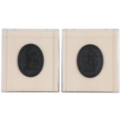 Black Basalt Venus and Cupid Medallion Wall Plaques Attributed to Wedgwood