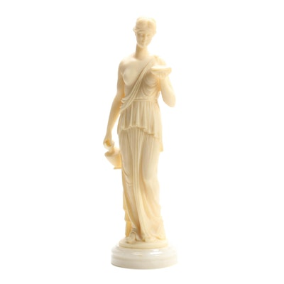Grecian Lady Resin Statuette on Stone Base