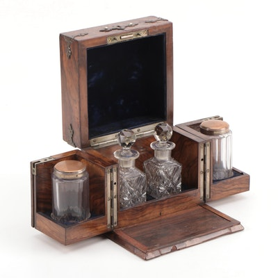 Victorian Walnut Tantalus Box with Fitted Interior, Late 19th Century