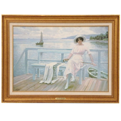 "Offset Lithograph after Paul Fischer ""A Young Lady Sitting on a Jetty"""