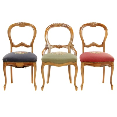 Three Victorian Style Side Chairs with Needlepoint Seat Covers