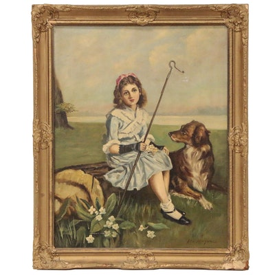 John Morgan Oil Painting of Girl with Dog