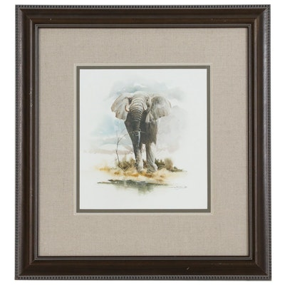 Craig Bone Gouache and Watercolor Painting of Elephant