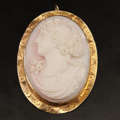 Vintage 10K Carved Conch Shell Cameo Converter Brooch