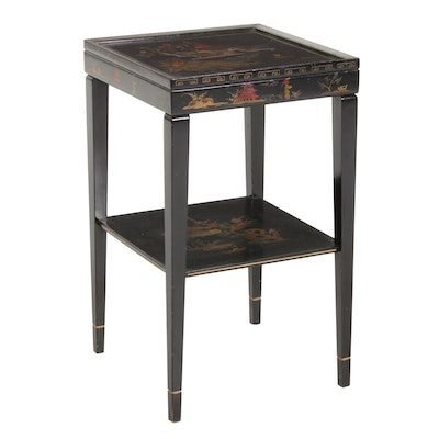 Chinosoire Side Table with Lacquer and Painted Landscape Design, Vintage