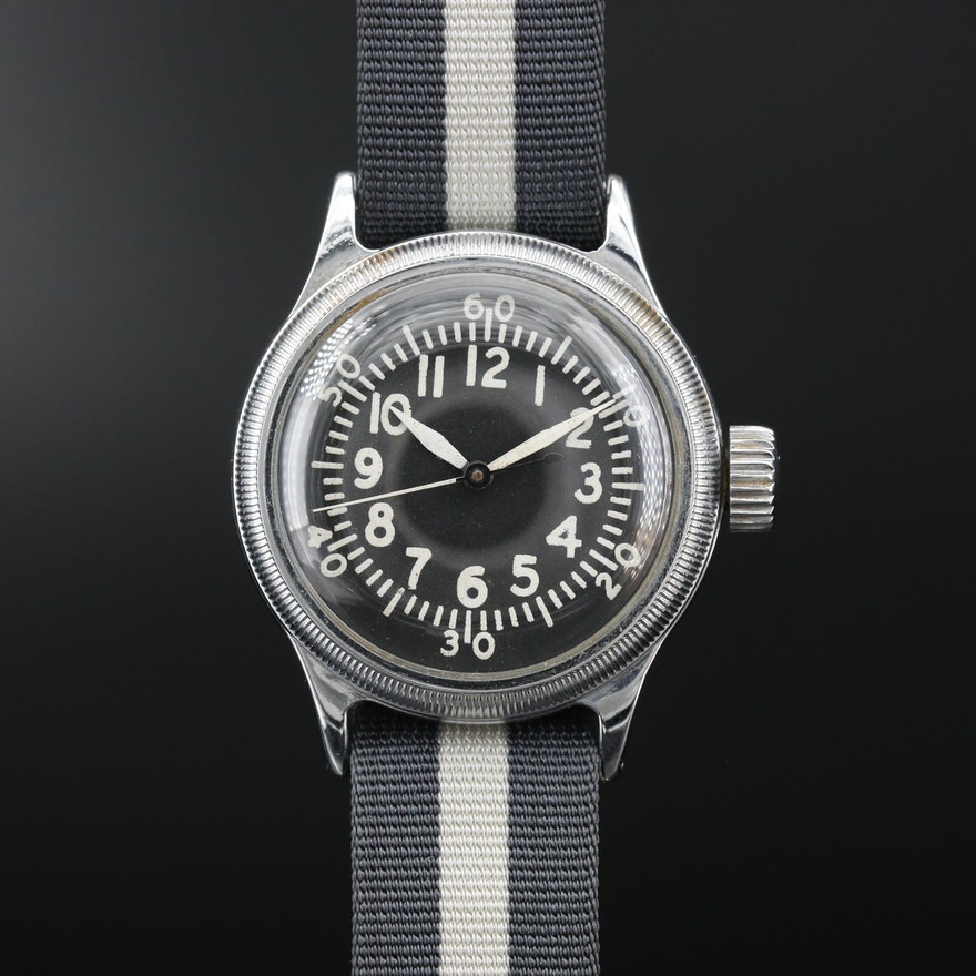 Elgin Type A-11 U.S. Army Air Force Issued WW II Era Stainless Steel Wristwatch
