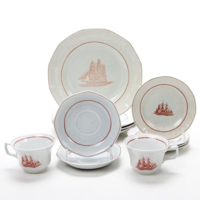 "Wedgwood ""Flying Cloud"" Ceramic Tea Cups, Saucers, and Dinner Plates"