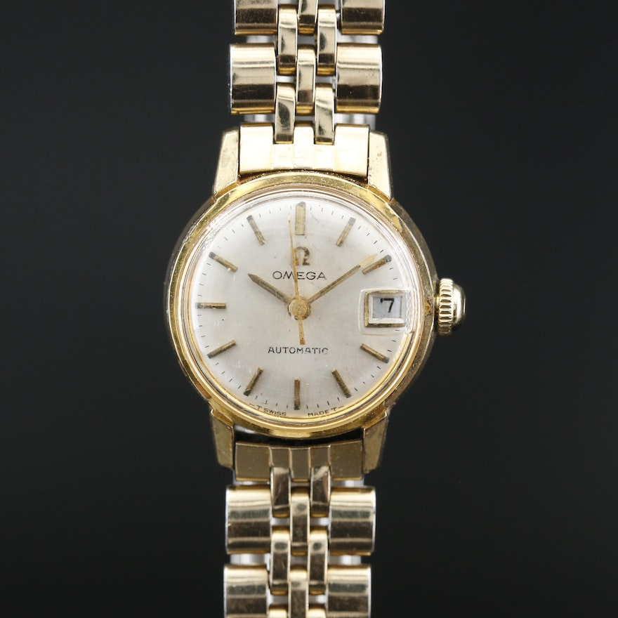 1966 Omega Seamaster Ladymatic Gold Plated Stainless Steel Wristwatch