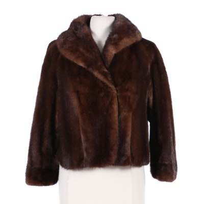 Mahogany Mink Fur Jacket with Shawl Collar, Mid-20th Century