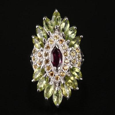 Sterling Rhodolite Garnet, Peridot and Sapphire Ring