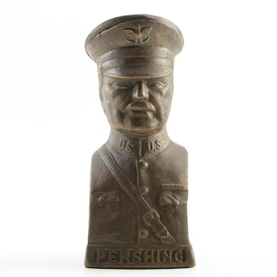 WWI Era General Pershing Still Action Cast Iron Coin Bank