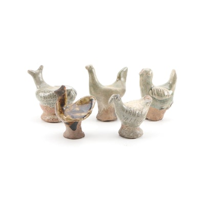 Thai Bird and Hen Zoomorphic Glazed Clay Figurines, Antique